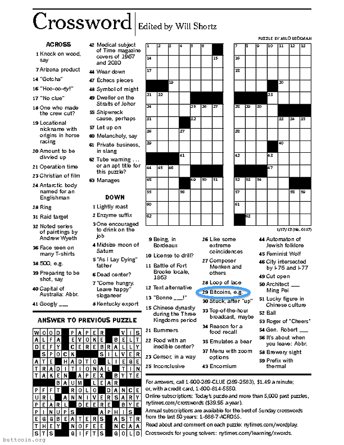 BitcoinCrossword